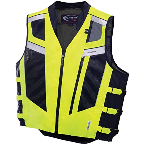 - Olympia Moto Sports 243-306013 MV306 Blaze Hi-Viz Safety Vest (Neon Yellow/Black, Medium/Large)