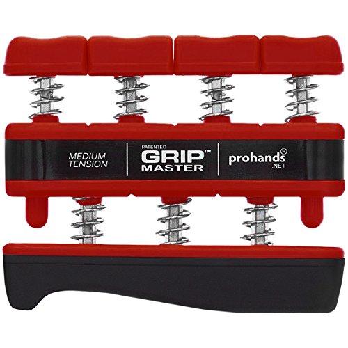 Prohands Gripmaster Hand Exerciser, Finger Exerciser (Hand Grip Strengthener), Spring-Loaded, Finger-Piston System, Isolate and Exercise Each Finger, (7 lb Medium Tension, Red-Gripmaster)