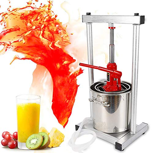 Wine Juicer, Stainless Steel Fruit Wine Juice Press Cheese Making Press with Hydraulic Jack Aid For wine/cider making Fruit Crusher -