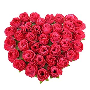 MY HOPE 50 Pcs Artificial Roses Red Color Silk Flower Wedding Home Bouquet Decor Art 86