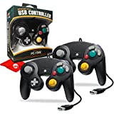 Hyperkin CirKa Premium GameCube-Style USB Controller for Mac/Windows PC, 6ft Cable Length, Black 2-Pack (M07148-BK)