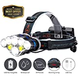 SGODDE Super Bright LED Head Torchlight, 8 Modes 6000 LM Lightweight LED Headlamp Flashlight, Waterproof Headlight with SOS Strobe for Running, Reading (2x Battery Included)