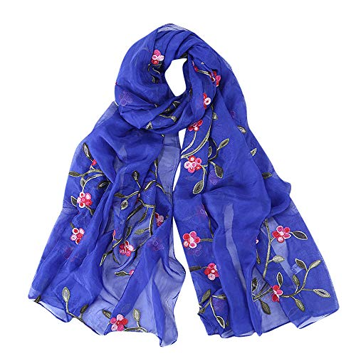 DEATU Hijab Scarfs for Women, Clearance Ladies Embroidery Chiffon Wrap Shawls Headband Muslim Scarf(B)