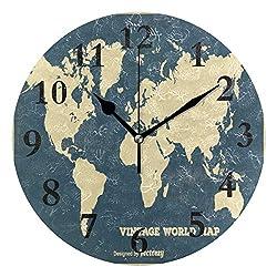 NMCEO Round Wall Clock Vintage World Map Acrylic Original Clock for Home Decor Creative