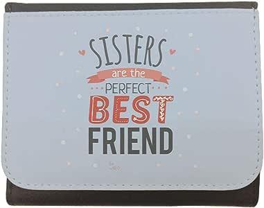 محفظة جلد بتصميم الاخوات افضل صديقات مثاليات، مقاس 12cm X 10cm