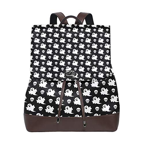 Leather Halloween Ghost And Skull Backpack Daypack Bag Women ()