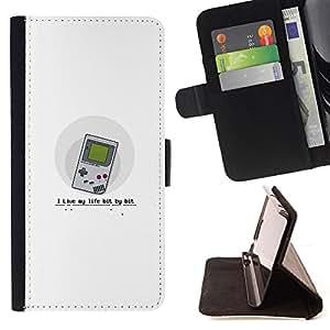 BullDog Case - FOR/Samsung Galaxy S4 Mini i9190 / - / Live My Life Bit By Bit - Funny Gaming /- Monedero de cuero de la PU Llevar cubierta de la caja con el ID Credit Card Slots Flip funda de cuer