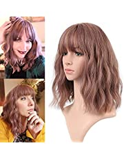 FAELBATY short Wave Bob Wigs With Bangs Shoulder Length Wig For Women Curly Wavy Synthetic Cosplay Wig Pastel Wig for Girl Costume Wigs