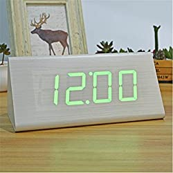 HOMECLVS Modern Wood Clocks,Wooden Unique Big Numbers Digital LED Calendar Thermometer Voice Alarm Desk Clock White Green
