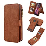 Moto Z3 Play Wallet Case, Detachable Magnetic Flip Cover with 12 Card Holders and Cash Earphone Handfree Pocket Leather Case for Moto Z3 Play Leather Case (Brown)