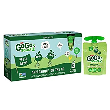 GoGo squeeZ Applesauce on the Go, Apple Apple, 3.2-Ounce Portable BPA-Free Pouches, Pack of 12