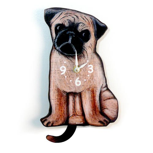 Swinging-Tail Pendulum Dog Clock - Pug