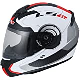 LS2 FF350 Atmos Helmet with Mercury Visor (White and Red, L)