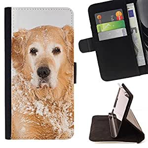 Momo Phone Case / Flip Funda de Cuero Case Cover - Golden Retriever Invierno Blancanieves; - Motorola Moto E ( 1st Generation )