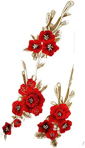 1set Embroidery 3D Flower Sew on Patches Dress Hat Bag Jeans Applique Craft Clothing Accessories Scrapbooking Fabric Badge Sewing Accesories T2629 (red) / 1set Embroidery 3D Flower Sew on Patches Dress Hat Bag Jeans Applique Craft ...