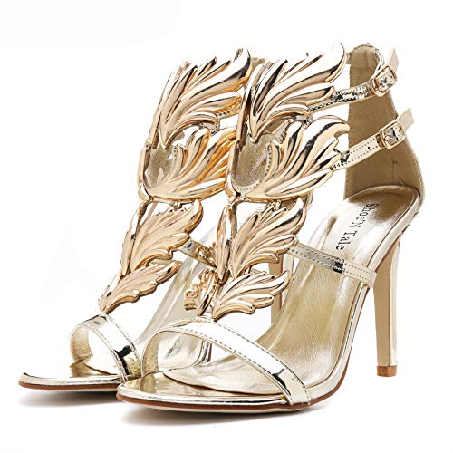 Shoe'N Tale Women's High Heel Gladiator Sandals Gold Flame Party Dress Stiletto Shoes (9 B(M) US, Gold) (Butterfly Pumps)