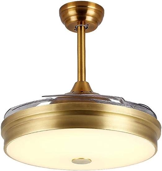 Y.T Ventiladores de Techo de la Sala de Estar con lámpara, Luces de Techo de Ventilador silencioso Invisible, Luces de Techo de Ventilador Antiguo de Cobre, Interruptor de Control Remoto: Amazon.es: Hogar