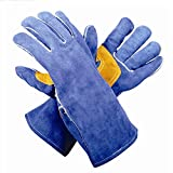 ANHPI 13.78inch Heat Resistant Leather Welding Gloves Security Work Gloves,Blue-XL