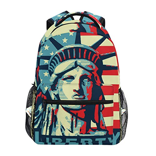 MOYYO Statue of Liberty American Flag Patriotic School Backpack College Book Bag Casual Lightweight Travel Camping Laptop Daypack for Teens Girl Boy Women Men with Bottle Side Pockets