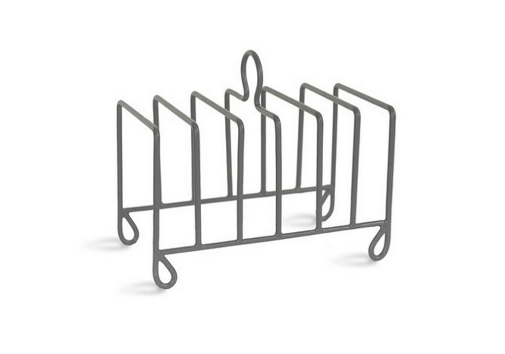 Industrial Style Coated Metal Steel Charcoal Toast Rack - Holds 6 Slices