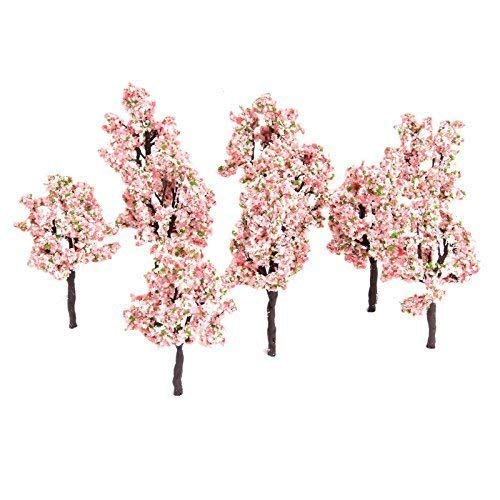 10pcs 11cm Pink Flower Model Tree Railway Train Diorama Garden Scenery OO HO Scale from Yetaha