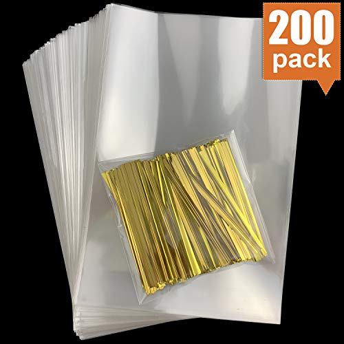 200 PCS 4 x 6 inch Clear Flat Cello Cellophane Treat Bags Good for Bakery, Cookies, Candies,Dessert with Yellow Twist Ties