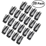 Tinksky 20pcs 10-Teeth Snap-Comb Wig Clips with Rubber for Hair Extension (Black)