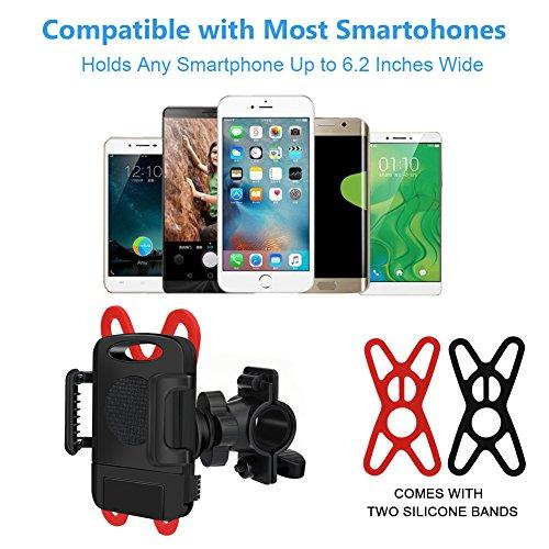 Soporte de teléfono para bicicleta, soporte universal para manillar de bicicleta, rotación de 360 ° ajustable con un botón liberado, soporte antigolpes para ...