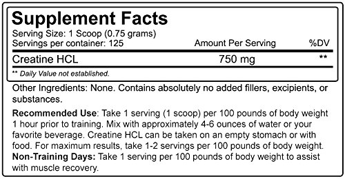 Nutrakey Creatine HCL Supplement, 3.3 Ounce