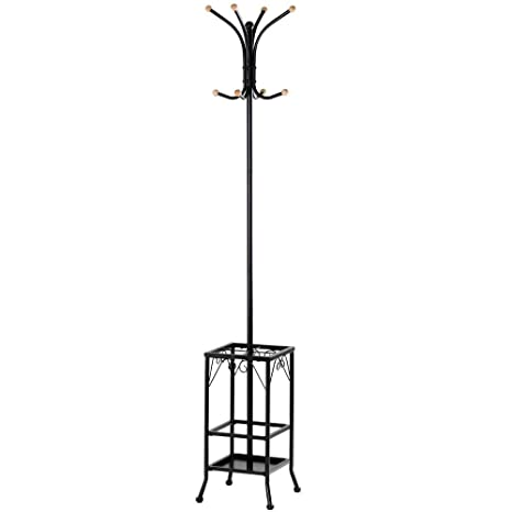Topeakmart Coat Hat Rack With Umbrella Stand, Hall Tree Hangers 8 Hook  Solid Base For