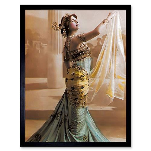 Hand Coloured Portrait Dancer Spy MATA Hari Photo Art Print Framed Poster Wall Decor 12x16 inch