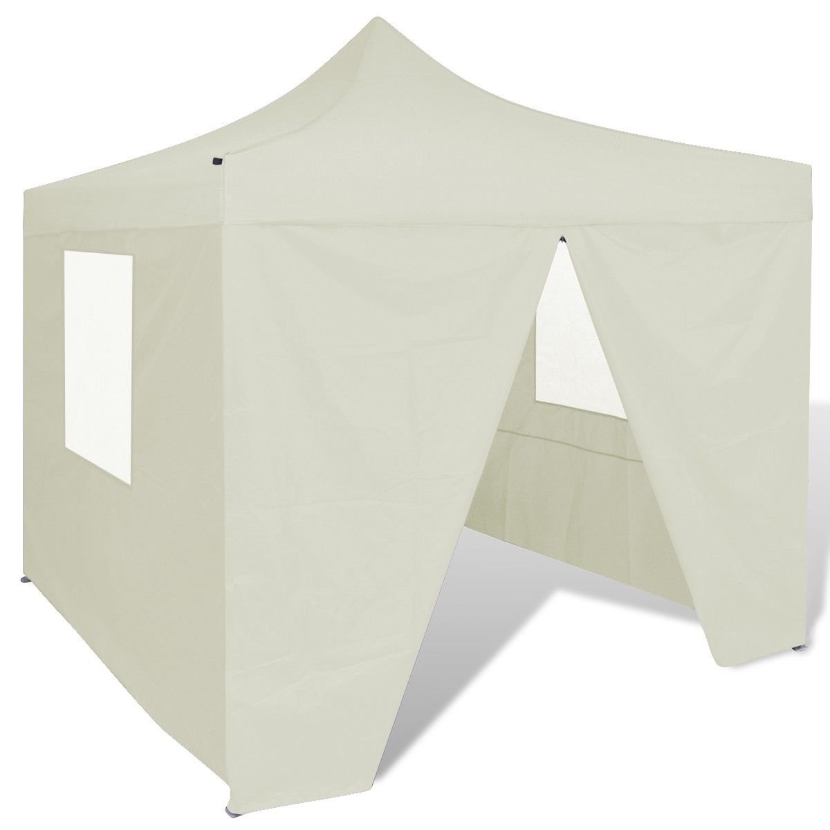 Foldable Canopy Party Tent 10' x 10' with 4 Walls, Wedding Event cater Tent, Cream