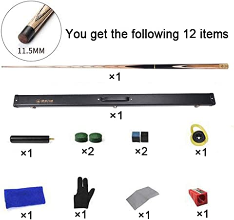 """57/"""" Handcraft 3//4 Jointed Snooker Cue with Mini Butt End Extension+Hard Rod Box 145cm XGGYO Ash Billiard Pool Cue Sticks-19oz Small Head 10mm"""