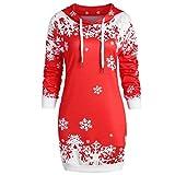 Tiandino Women Pullover Hoodie Dress Sweatshirt, Christmas 3D Snowflake Printedd Long Sleeves Hooded Tunic Tops Red