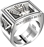 US Jewels And Gems Men's Heavy 0.925 Sterling Silver Freemason Scottish Rite Ring Band, Size 10