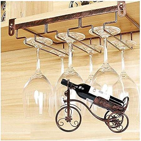 Estante De Vino De Metal, Estante De Botella De Bicicleta Gabinete Sin Perforar En La Parte Inferior Soporte De Exhibición De Vino Vino Tinto Colgante Copa De Vino GMING (Color : Bronze)