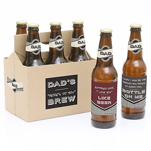 White Label Beer - Big Dot of Happiness Dad, I Must Confess - Here's To You Brew 6 Beer Bottle Labels and 1 Carrier