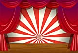 LFEEY 7x5ft Red Curtain Stage Backdrop Photo Booth Props Cartoon Wood Floor White and Red Stripes Photo Background for Birthday, Party, Events Decorations