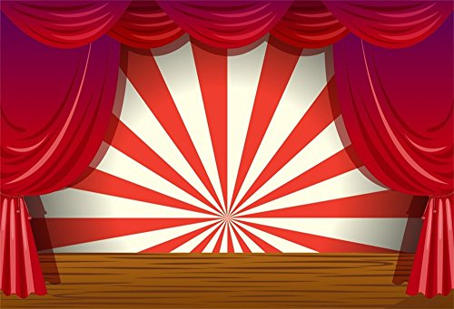 LFEEY 7x5ft Red Curtain Stage Backdrop Photo Booth Props Cartoon Wood Floor White and Red Stripes Photo Background for Birthday, Party, Events Decorations by LFEEY (Image #4)