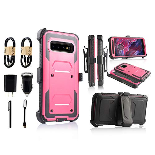 for Samsung Galaxy S10e | Dual-Layer Military Grade Phone Cover, Built-in [Screen Protector] Full-Body Armor Case [Belt Clip Holster][Kickstand] (for Samsung Galaxy S10 E) [Value Bundle] (Pink)