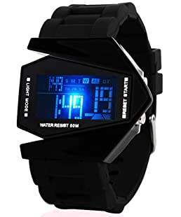 Fanmis Unisex Elegant Plane Style Digital Display Waterproof Outdoor Sports Silicone Strap LED Wrist Watch (Black)