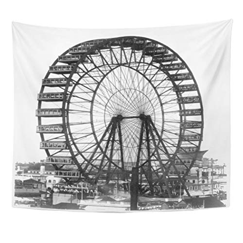 (Semtomn Tapestry Artwork Wall Hanging Retro Vintage Ferris Wheel at Chicago World Fair 50x60 Inches Home Decor Tapestries Mattress Tablecloth Curtain Print)