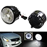 iJDMTOY 18W High Power 6-LED Fog Light Lamps Assy with LED Halo Rings For Infiniti G25 G37 FX35 FX45 FX45 M37 Nissan Juke Cube Quest Murano, Xenon White