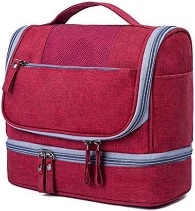 旅行化粧バッグ トラベルウォッシュバッグ防水コスメティックバッグメンズビジネストラベルポータブルストレージバッグセット女性大容量のトラベル用品 アクセサリー用コスメバッグ (色 : Red, Size : 21x25x13cm)