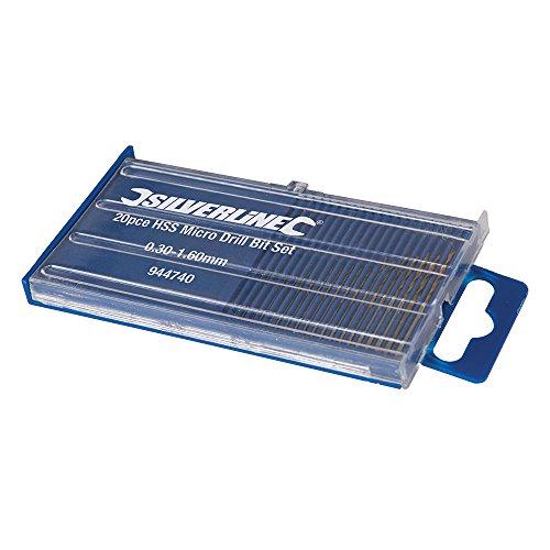 Silverline 944740 Juego de microbrocas HSS, Plata, Set de 20 Piezas
