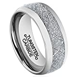 Men 8mm Silver Tungsten Carbide Ring Vintage Meteorites Pattern Wedding Engagement Band Domed Comfort Fit Size 9