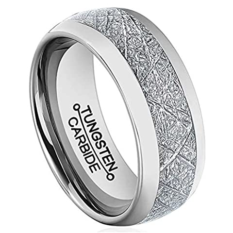 Men 8mm Silver Tungsten Carbide Ring Vintage Meteorites Pattern Wedding Engagement Band Domed Comfort Fit Size (Tungsten White Gold Ring)