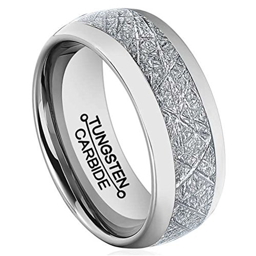 Men 8mm Silver Tungsten Carbide Ring Vintage Meteorites Pattern Wedding Engagement Band Domed Comfort Fit Size 10 -