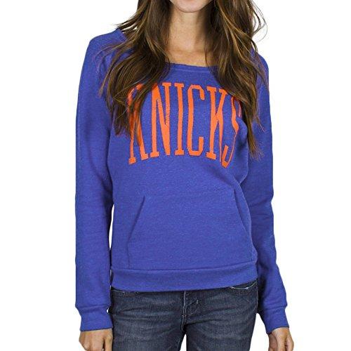 NBA Women's New York Knicks Fadeaway Fleece Blue By Junk Food (Large)