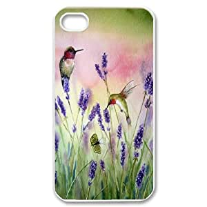 Wholesale Cheap Phone Case For Iphone 4 4S case cover -Hummingbird Bird Art Pattern-LingYan Store Case 8